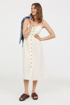 Button-front dress - Natural white -   H&M 2