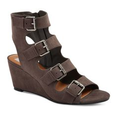 Women's dv Leeann Buckle Wedge Gladiator Sandals - Gray 9.5
