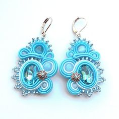 Turquoise soutache earrings, blue earrings, dangle earrings, oriental jewellery, soutache pendientes, soutache jewelry, light blue crystal