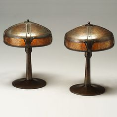 roycroft furniture | ... Center Image 1 Pair of ROYCROFT hammered copper table lamps, the