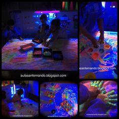 Cuando realizamos el taller sensorial con luz negra , siempre empezamos de la misma forma. Forramos las mesas con papel blanco, presentam... Neon Party, Infant Activities, Party Time, Art Projects, Student, Instagram, Infant Sensory, Black Lights, Sensory Activities