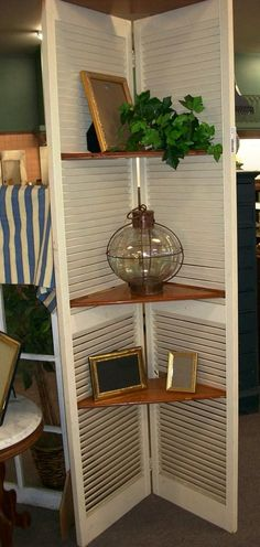 DIY Shutter Shelf, repurpose/ could use this in same corner of dining room or in Blake's/Saves room