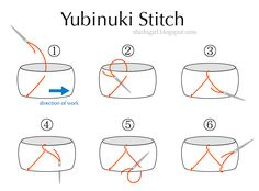 kaga yubinuki (加賀指ぬき tutorial): They are padded fabric rings decorated with silk thread.