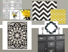 black white gray with yellow accents