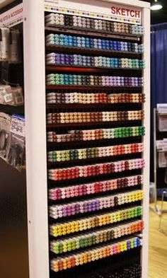 Copic Markers have quickly become the alcohol marker of choice or rubber stampers and scrapbookers alike. Here at CHA, it was nice to see all 346 colors up close. Marker Crafts, Marker Art, Alcohol Markers, Copic Markers, Pro Markers, Copic Art, Cute School Supplies, Craft Storage, Marker Storage