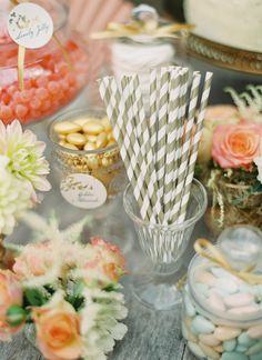 Dessert Display with Gold Leaf Tags | Peaches & Mint Photography | A Blooming Spring Wedding full of Lush Flowers in Peach and Fresh Green - http://heyweddinglady.com/blooming-spring-wedding-full-of-lush-flowers/