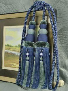 6 Colors QYM13 Faux Silk Curtain Tassel Tie Backs in Blue Color