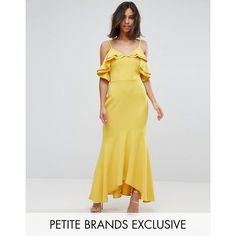 John Zack Petite Ruffle Bust Fishtail Maxi Dress (£60) ❤ liked on Polyvore featuring dresses, petite, yellow, petite dresses, maxi dress, petite maxi dresses, lace dress and lace bodycon dress
