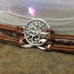Silver Circle of Life Infinity Brown Leather by PureEssenceJewelry