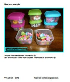 $2.50 - Graphing Boxes: Organize graphing boxes by putting manipulatives, small toys, or erasers in small boxes
