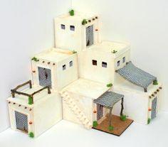 102/5-Conjunto tres módulos morunos Mud House, Tiny House Living, Miniature Fairy Gardens, Miniature Houses, Christmas Deco, Christmas Home, Diorama, Nativity House, Cardboard Box Houses