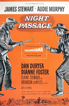 Night Passage - 1957  The workers on the railroad haven't been paid in months --- that's because Whitey and his gang, including fast-shooting, dangerous, but likeable Utica Kid, keep holding up the train for its payroll. Grant McLaine, a former railroad employee who was fired in disgrace, is recruited to take the payroll through under cover. A young boy and a shoebox figure into the plot when Whitey's gang tries to hold up the train and Grant and the Kid meet again to settle an old score.