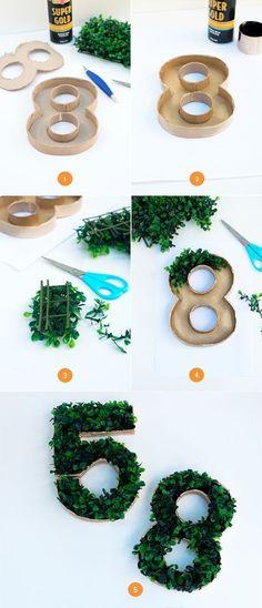 DIY Faux Grass Moss Table Numbers Step By Step / http://www.deerpearlflowers.com/diy-wedding-table-number-tutorials-samples/5/