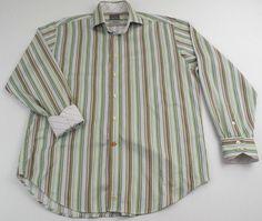 Thomas Dean Striped Long Sleeve Contrasting Flip Cuff Shirt Men Size Large L #ThomasDean