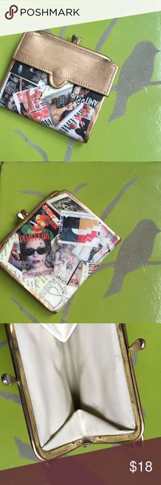 'Vanity Fair' Wallet Vintage Rehab small wallet/coin purse. Sealed acrylic coated paper faux crackle satin finish. One of a kind Vintage Bags Wallets