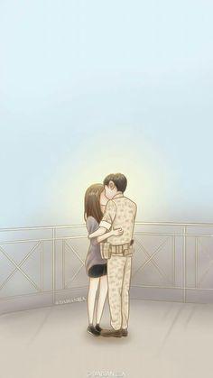 Descendants of The Sun. Cute Couple Drawings, Cute Couple Art, Anime Love Couple, Couple Cartoon, Cute Anime Couples, Korean Art, Korean Drama, Desendents Of The Sun, Descendants Of The Sun Wallpaper