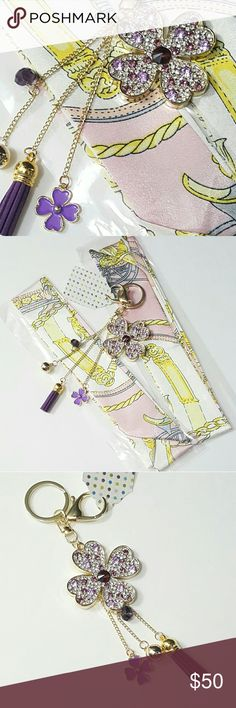 """⤵⤵ Lavender Crystal Keychain & Pink Twillys New Arrival  1pcx Crystals Lavender Clover Keychain w. Baby Tassel 2pcx Sweet Pink Artifact Satin Twillys Twillys handbag handle protecter 39"""" long each.Color: Purple. Size Approx: 6.0"""" x 3.0"""".Alloy Plated Gold Brass. Great for Speedy Bag, short handle purse, satchel, Car Charms, Handbags Charms,Keychains..etc Absolutely a great gift for a Christmas or Birthday. Free House Gift. You may choose other twilly. Final Sale No return. Pix 4 just sample…"""