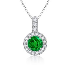 Emerald and Diamond Dangling Pendant #Angara