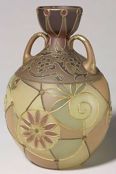 Mt Washington Royal Flemish handled vase with stylized flowers, 9 3/8 inch HOA