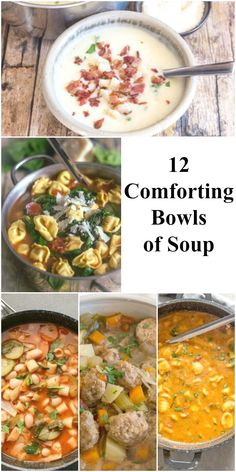 12 Comforting Bowls of Soup, from homemade to creamy to veggies and healthy, but all are comforting bowls of soup. Eating Fast, Clean Eating Snacks, Healthy Eating, Healthy Sweet Snacks, Healthy Recipes, Amazing Food Hacks, Italian Soup Recipes, Creamy Potato Soup, Vegetable Soup Healthy