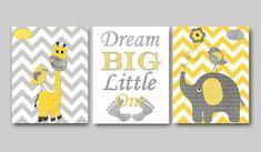 Children Room Decor Baby Boy Nursery Quotes Dream Big Little One Elephant Wall Art Giraffe Wall Art Kids Wall Art set of 3 11x14 Gray Yellow by artbynataera on Etsy