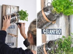 20+ Creative DIY Vertical Gardens For Your Home --> DIY Mason Jar Herb Garden #DIY #gardening #vertical_garden