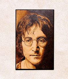 John Lennon woodburned home decoration by BrainStormingSession, $59.90  Exclusive woodburned home decoration.  It's a real, high quality piece of art.  It makes a perfect gift