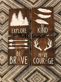 Hand cut, stained and painted signs perfect for your little ones room! Set of colors are interchangeable to match your theme! Insert colors at checkout! Kids Wall Decor, Rustic Signs, Rustic Decor, Nursery Themes, Nursery Decor, Baby Boy Nurseries, Painted Signs, Wall Signs, Boy Room