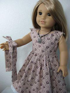 18 inch Doll Clothes American Girl Garden Party  Dress in Burgandy. $28.00, via Etsy.