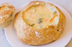 Broccoli Cheddar Soup in a Bread Bowl