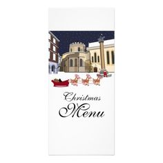 Santa Takes A Break Christmas Menu Rack Card