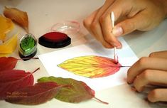 Paint autumn leaves with q-tips and ink pads - going to try this!!