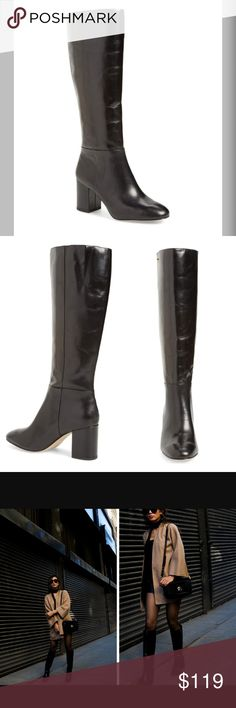 """Louise et Cie Balasia Knee High Boot BRAND NEW Louise et Cie brand women's size 8.5 black leather boots, brand New in the box! Finely grained leather defines the sleek silhouette of a knee-high boot that serves as a downtown-chic essential. 2 1/2"""" heel 15 1/2"""" shaft; 16"""" calf circumference. Wide calf Pull-on style Leather upper/textile lining/synthetic sole My price is just a starting point, send me any offer 👍🏼💕 Louise et Cie Shoes Heeled Boots"""