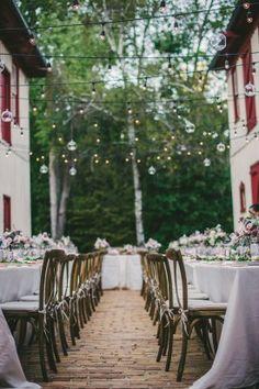 Virginia Wedding, Cafe Lights Over Dinner Tables | Overhead Wedding Decor | Rebekah J Murray Photography