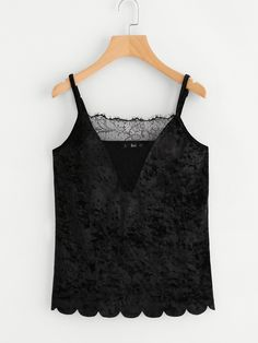 Shop Lace Insert Scallop Hem Velvet Cami Top online. SheIn offers Lace Insert Scallop Hem Velvet Cami Top & more to fit your fashionable needs.