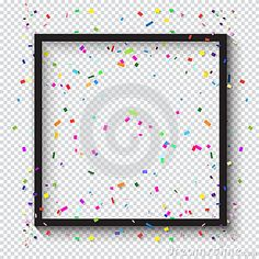 Carnival festive black Photo frame and falling bright confetti on checkered transparent background for Birthday, Holiday, Carnival, Halloween, Festival, Christmas Masquerade invitation background design. Photo Frame decoration. Kids event festive Vector illustration.