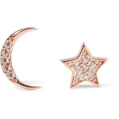 Aamaya By Priyanka Moon and Star rose-gold plated topaz earrings featuring polyvore, women's fashion, jewelry, earrings, topaz jewelry, handcrafted jewelry, handcrafted jewellery, sparkle jewelry and rose earrings