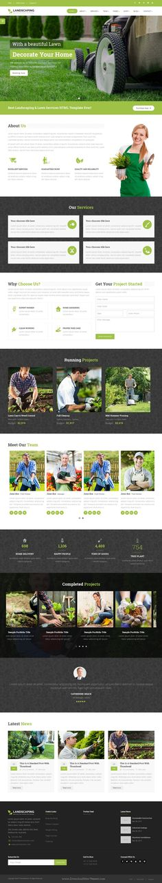 Landscaping is beautiful Bootstrap HTML5 #Template for #Gardening, Lawn and Landscape #website. Download Now!