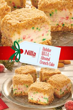 Create a shareable cake that everyone can enjoy with this Holiday NILLA-Almond Crunch Cake. Perfect for holiday get-togethers with friends and family. Find this #NabiscoHolidayRecipe and more at www.snackworks.com Holiday Baking, Christmas Desserts, Christmas Treats, Baking Recipes, Cookie Recipes, Dessert Recipes, Easy Desserts, Delicious Desserts, Yummy Food