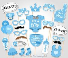 Baby Shower Photo Booth Props - Printable Photo Booth Props - It's a Boy Baby Photobooth Props - Team Blue Baby Boy Printable Party Props Baby Shower Photo Booth, Photobooth Baby Shower, Photo Booth Party Props, Photobooth Props Printable, Baby Shower Photos, Baby Boy Shower, Photo Booths, Fiesta Shower, Shower Party
