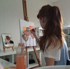 art, girl, and aesthetic image Art Hoe Aesthetic, Aesthetic Drawing, Aesthetic Photo, Cyberpunk Kunst, Photo Humour, Kreative Portraits, Painting Of Girl, Belle Photo, Art Studios