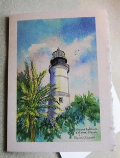 Key West Lighthouse  Florida 5 x 7 blank note by watercolorsNmore, $3.50