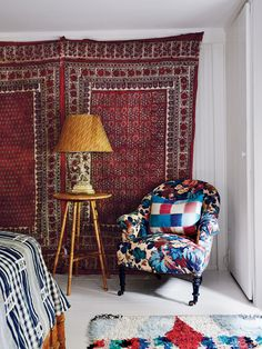 Old World East Hampton Cottage. Hang textiles on the wall for added texture and color!