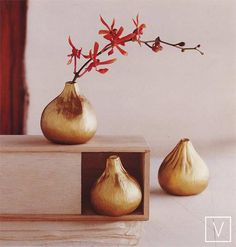 Vases that remind me of golden pomegranates - relect just enough light and contrast with orchid.