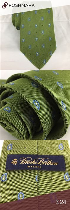 "Brooks Brothers Makers 100% Silk Textured Necktie Brooks Brothers Makers Green with Blue Pine Print Textured Silk Necktie  Excellent Condition gently used with no rips, stains, etc.  Measures 58"" Long x 3 3/4"" wide.  Comes from a Clean and smoke free home.  Very nice colors, hard to capture with photos. Brooks Brothers Accessories Ties"