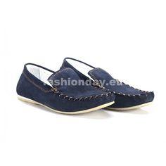23da8073418a Modré pánske kožené mokasíny COMODO E SANO s hnedým prešívaním -  fashionday.eu