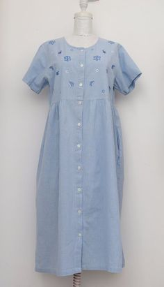 Essential Needs Vintage Dress, Short Sleeve 100% Cotton Plaid Embroidered Size L #EssentialNeeds #ShirtDress #Casual