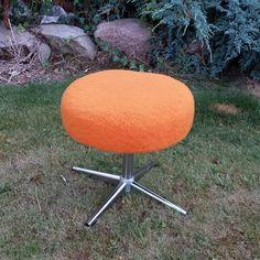 Pomarańczowa pufa, stołek lata 70, vintage, retro, prl #vintage #vintagefinds #vintageshop #forsale #design #midcentury #midcenturymodern