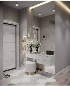 Hall de entrada clean, moderno e lindo. Bedroom Closet Design, Modern Bedroom Design, Bedroom Tv, Modern Design, Interior Design Living Room, Living Room Designs, Design Interior, Dressing Table Design, Dressing Area