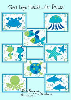 Sea Life Creatures 8x10 Wall Art Prints Decor for baby ocean animals nursery, bathroom, or children's room decor. Choice of a crab, jelly fish, swimming fish, sea horse, star fish, sea turtle, octopus, and sharks OR get all eight #decampstudios